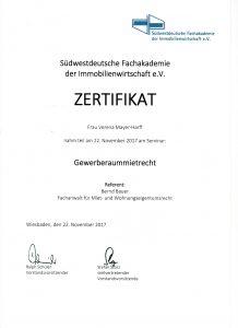 Zertifikat Gewerberaummietrecht 2017