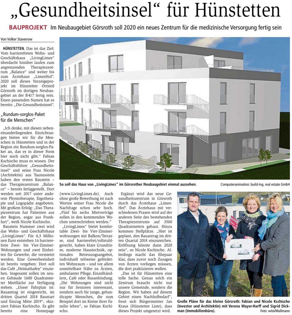 Idsteiner Zeitung: Gesundheitsinsel für Hünstetten